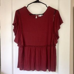 Anthropologie On the Road Red Flutter Tee size L